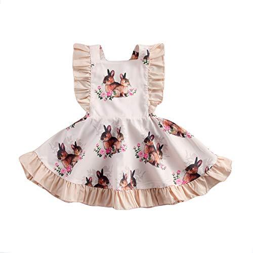 Eghunooze Baby Mädchen Ostern Kleidung Häschen Druck Strampler Kleider Rüsche Ärmellos Tutu Kleid Festlich Kleid Kleinkind Sommer Outfits Set (Weiß Kleid, 12-18 Monate)