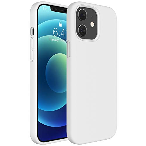 Miracase Compatible with iPhone 12 Case,Designed for iPhone 12 Pro Case 6.1 inch(2020),Liquid Silicone Gel Rubber Full Body Protection Shockproof Drop Protection Case(Creamy White)