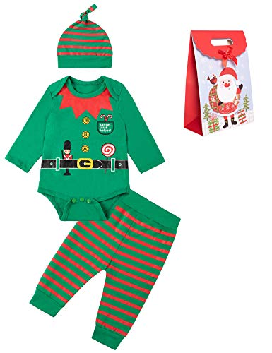 Newborn Baby Boy Christmas Elf Outfits Xmas Clothing Stripe Pant Sets with Hat (6-12 Months)