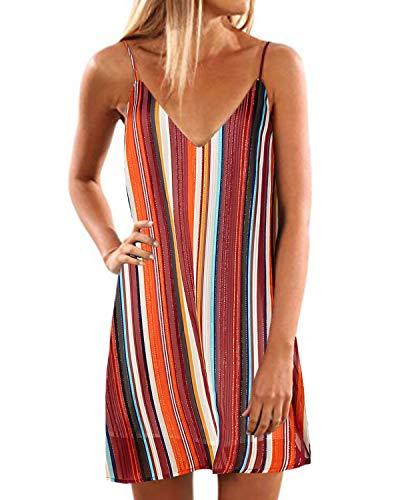 YOINS Ärmelloses Minikleid für Damen, Blumendruck, Sommerkleid, Spaghettiträger, Swing-Sommerkleid Gr. 42, Streifen-01