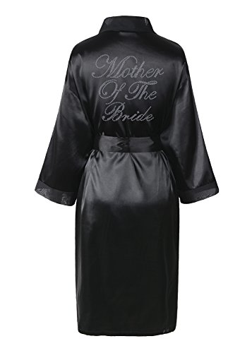 Varsany Brautmutter-Bademantel mit Satin, Vlies und Strass, englische Aufschrift, Morgenmantel, Kimono, personalisierbar schwarz