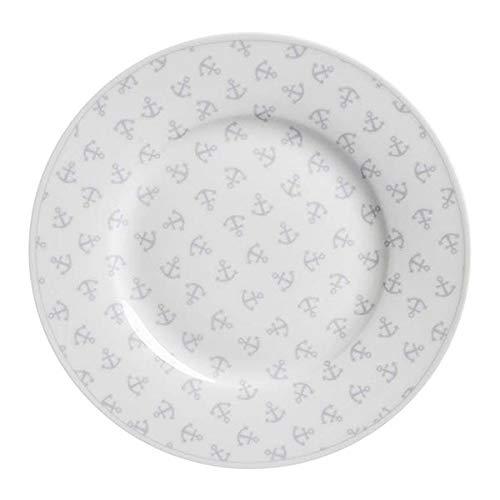Krasilnikoff - Teller - Anker - weiß - Porzellan - Ø20 cm