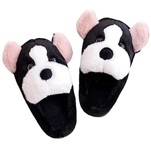 Aisoway 1 Paar Plüsch-Hundehausschuhe Haus Non Skid Cozy weiche Schuhe Winter warme Karikatur Schlafzimmer Slipper Größe Geeignet für 43-44