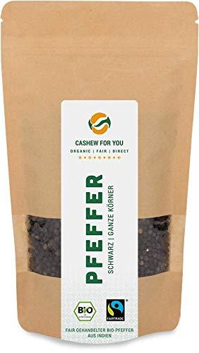Bio Fairtrade Pfeffer schwarz (150g) | ganze Pfefferkörner aus Kooperative in Indien