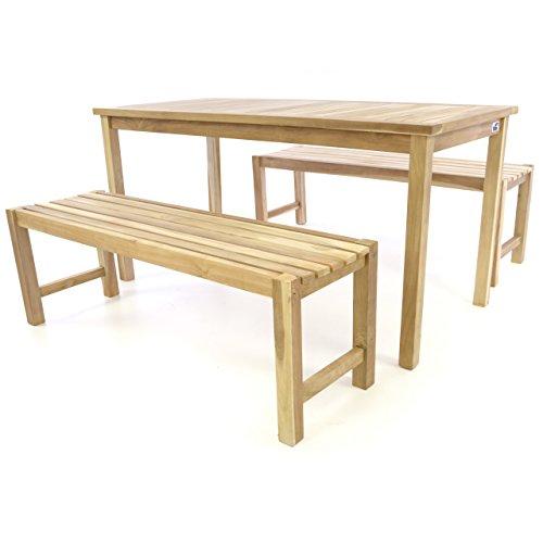 Divero Garten- & Picknick-Set Sitzgruppe Gartenmöbel-Garnitur 3-teilig 1 Tisch 2 Bänke behandelte unbehandelte Oberfläche Teak-Holz massiv 150 135 cm wählbar (150 cm, Teak Natur)