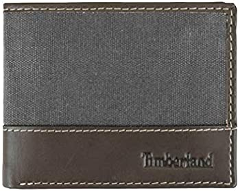 Timberland Baseline Leather Canvas Men's Wallet With Attached Flip Pocket
