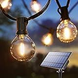 Guirnaldas Luminosas de Exterior Solares, BrizLabs 9.9m G40 Cadena de Luces Solar con 25 LED Bombillas Recargable por USB Impermeable IP65 Interior Decoracion para Fiesta Boda Jardín Patio Navidad