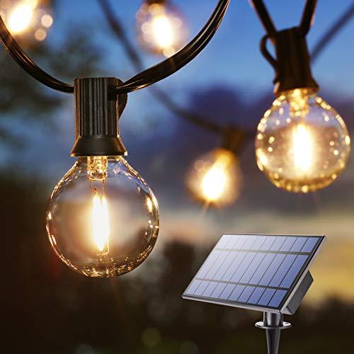 Catena Luminosa Esterno Solare BrizLabs 9.9m G40 Luci Giardino Lampadine 25+1 LED USB Ricaricabile Impermeabile IP65 Lucine Solari Decorative per Terrazzo Matrimonio Festa Natale, Bianco Caldo
