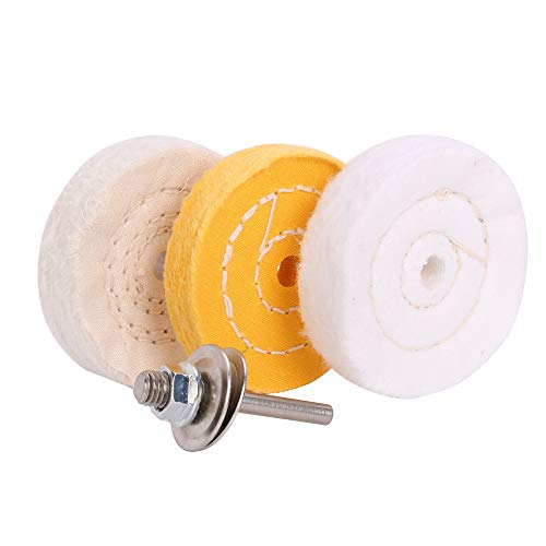 3 Inch ultra fine cotton 1 Treated Yellow Cotton 1 Fine Cotton 1 Buffing Polishing Wheel 2/5 inch Arbor Hole for Mini Bench Grinder with one 1/4' Shank for Drill