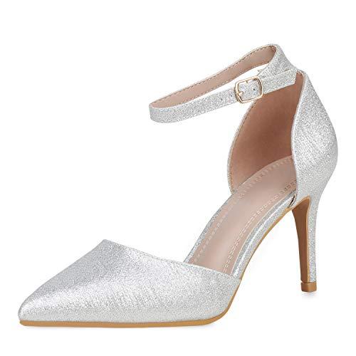 SCARPE VITA Damen Spitze Pumps Stiletto High Heels Glitzer Schuhe Elegante Abendschuh Party Absatzschuhe 191206 Silber Silber Total 37