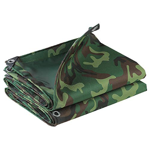 LXLA Outdoor Thicken Rainproof Tarp with Eyelets, Waterproof Tarp Sheet Cover Rip-resistant Sunscreen Awning, Shade & Rain Proof, Camo/Green, 450g/m² (Size : 6m × 8m)