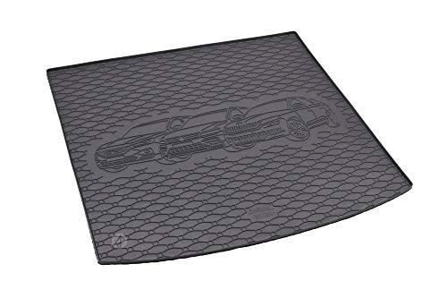 Passgenau Kofferraumwanne geeignet für VW Tiguan Allspace ab 2017 ideal angepasst schwarz Kofferraummatte + Gurtschoner