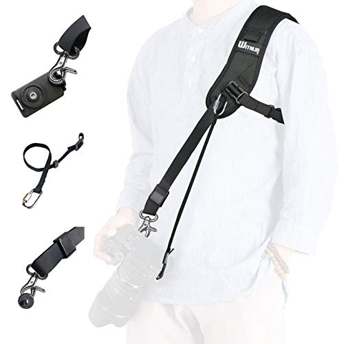 WITHLIN Kamera Gurt - Verlängerter Schultergurt mit Sicherheits Tether Montageplatte für Kamera DSLR SLR (Canon Nikon Sony Olympus Pentax, etc.) (Gurt + Haltegurt + Platte)