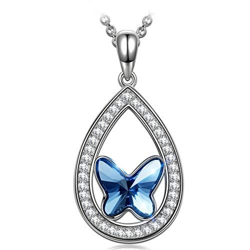 ANGEL NINA Halskette für Mädchen Silber Halskette Kristall Halsketten für Frauen Schmetterlings Halskette für Freundin Anhänger Halsketten für Teenager Mädchen Schmuck für Sie