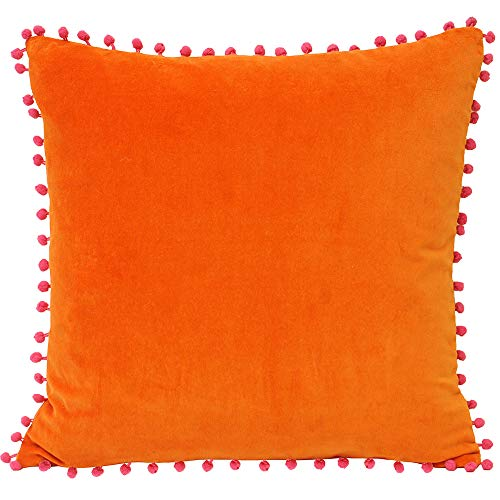 Riva Paoletti Velvet Pompom Cushion Cover - Orange - Faux Velvet Fabric - Contrasting Fuchsia Pink Pompom Edges - Hidden Zip Closure - 100% Soft Cotton - 45 x 45cm (18' x 18' inches)