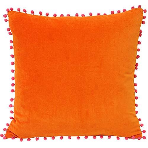 Riva Paoletti Velvet Pompom Cushion Cover - Orange - Faux Velvet Fabric - Contrasting Fuchsia Pink Pompom Edges - Hidden Zip Closure - 100% Soft Cotton - 45 x 45cm (18' x 18' inches)
