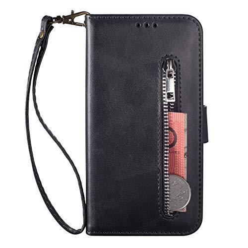 Miagon für Xiaomi Redmi Note 9 Pro Handyhülle,PU Lederhülle Magnetverschluss Kartenfächern Standfunktion Brieftasche Flip Wallet Case Cover mit Reißverschluss