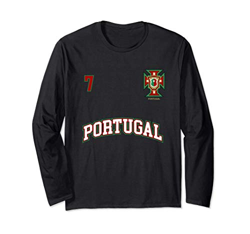 Squadra Calcio Portogallo Numero 7 Bandiera Portoghese Maglia a Manica