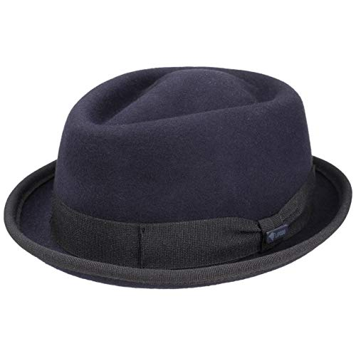 Lipodo Gratus Pork Pie Filzhut Damen/Herren - Hut aus Wollfilz - Made in Italy - Porkpie mit Ripsband - Wollhut - Fedora Sommer/Winter dunkelblau L (58-59 cm)