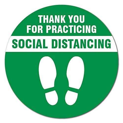 SIgnMission Coronavirus Thank You for Social Distance Green Non-Slip Floor Graphic | 3 Pack of 7' Vinyl Decal | Protect Your Business, Work Place & Customers | Made in The USA (FD-C-7-3PK-99994)
