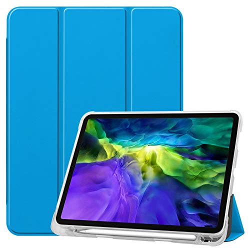 Case for Ipad Pro 11' 2020 - Transparent Back Protector Smart Shell Stand Cover with Pencil's Magnetic Attachment Side Opening Fit Ipad Pro 11 Inch 2018,Blue
