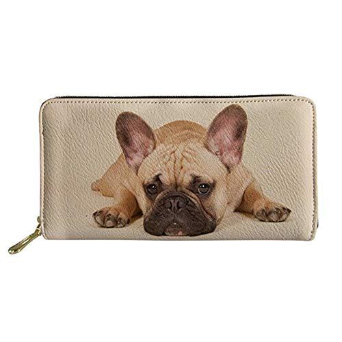UNICEU 3D French Bulldog Print Women Wallet Purse Credit Card Clutch Zip Around Phone Clutch Large Travel Purse