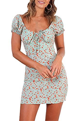 Vestido Corto con Estampado Floral Vestido Elegante Sexy para Mujer y Niña Vestido Casual con Cuello en V sin Tirantes de Mangas Cortas Ropa de Playa Verano Mujer (Verde, S)
