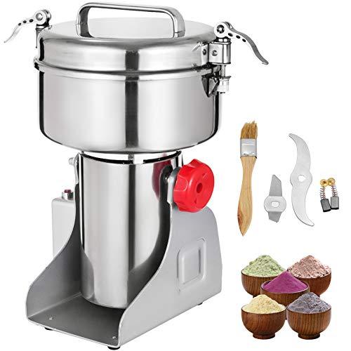 VEVOR Elektrische Getreidemühle 1000 g, Gewürzmühle 25000 U/min Multifunktions-Kaffeemühle Lebensmittel-Gewürzmühle Edelstahl Trockene Gewürzmühle Maschine Haushalt Edelstahl Pulver Maschine