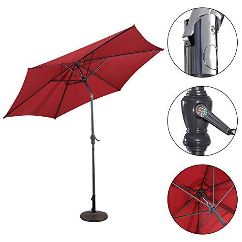 RELAX4LIFE Sonnenschirm Ø3m, Ampelschirm mit Kurbelmechanismus, Gartenschirm Polyester, Marktschirm UV-beständig und Wasserabweisend, Kurbelschirm Eisenstruktur (Rot)