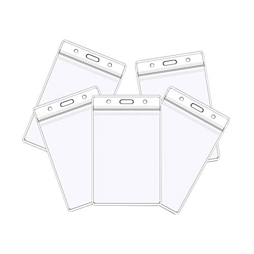 Vaccination Card Protector 4x3 in, CDC Immunization Record Vaccine Card Holder, 3x4 Horizontal ID Badge Holder, Clear Vinyl Plastic Sleeve Cover w Waterproof Resealable Zip for Travel (5PC)