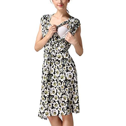 Zimuuy Damen Umstandsmode Mutterschaft Kleid Frauen Stillkleid Sommerkleid mit Blumendruck für Schwangere (M, Schwarz)