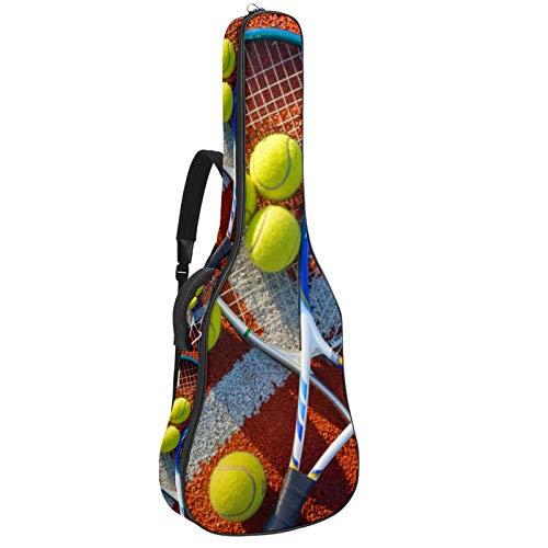 Z&Q Raqueta de tenis Funda para Guitarra Resistente al Agua Tejido Oxford Correas 10mm de Grosor Algodón Acolchado con Bolsillos 109x43x12cm