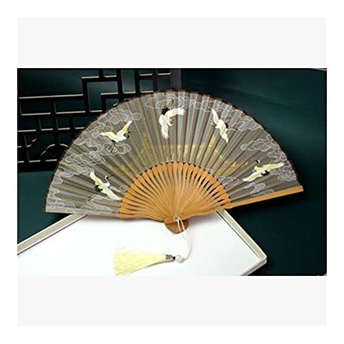 Abanico plegable Ventilador de mano plegable ventilador plegable ventilador hanfu portátil grúa fanático pequeño estilo nacional fanático plegable fanático fotografía fanático abanico plegable de bols
