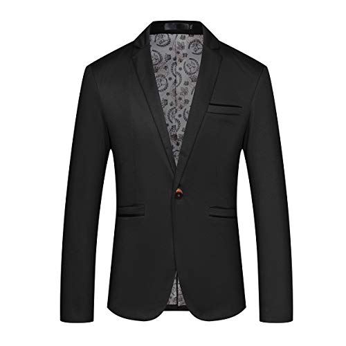 Mens Slim Fit Sport Coat Casual One Button Solid Color Jacket Blazer Black