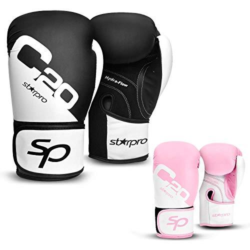 Starpro Guantes de Boxeo Muay Thai - Ideales para Kickboxing, Training, Sparring, Grappling, Entrenamiento, |6oz, 8oz, 10oz, 12oz, 14oz, 16oz| Hombres y Mujeres | Negro, Rosado