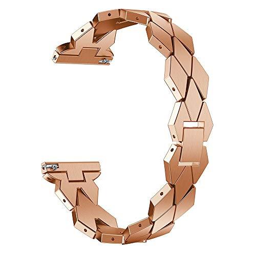 XIALEY Correa Ajustable De Acero Inoxidable para Fitbit Versa 2 / Versa/Versa Lite Banda De Reloj De Pulsera De Metal, Accesorios De Repuesto Brazalete Elegante Straps De Reloj De Cadena,Rose Gold