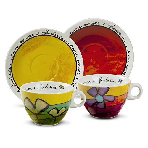 Egan PAF12/1V Cappuccino-Tassen Set, Porzellan, grün/rot, 4