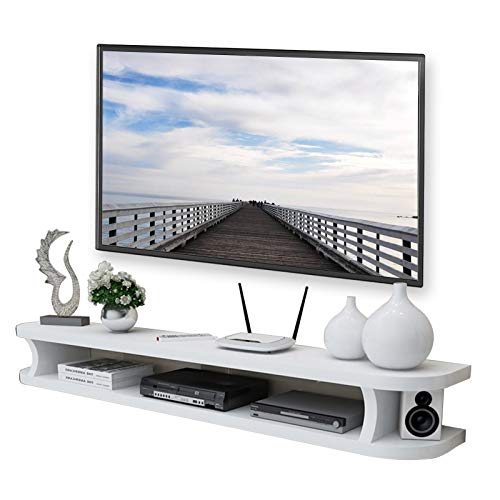 HAMIMI Wall Media Console For DVD Blu-ray Player, TV Stand, Satellite TV Box, Cable Box, TV Unit, Floating Frame Wall shelf (Color : White, Size : 80cm)