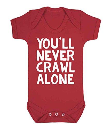 """Baby-Strampler, Strampelanzug mit Aufschrift """"You'll Never Crawl Alone"""", Fußball-Fan-Artikel, für Liverpool-Fans"""