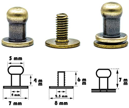 My Belt - 4 Stück Kopfnieten mit Schraubverschluss 5mm / Pilzkopfniete Altmessing, Knopfniete zum Anschrauben, Beiltaschenknopf