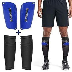 Dokpav Soccer Shin Guard Leggings Socken+Leggings Kunststoff Tasche Fußball Ausrüstung Komfort- Erwachsene Teenager Kinder- Fußball-Wettbewerb Anfänger Leistungssportler (Erwachsener:Schwarz + blau)