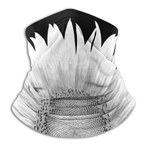 Akhy Multifunctional Headwear Face Mask Headband Neck Gaiter White Sunflower Balaclava for Men and Women