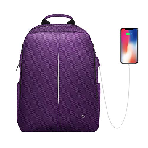 FINPAC Laptop Backpack, Casual Daypack with USB Port for Travel School Work (Purple)