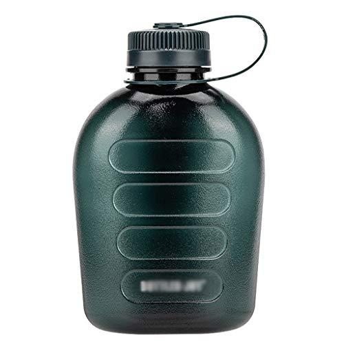 Botella de agua de 1000 ml con mango a prueba de fugas, tapa de rosca, botella de bebidas sin BPA, para correr, gimnasio al aire libre (color con manga de taza, tamaño: 1000 ml)