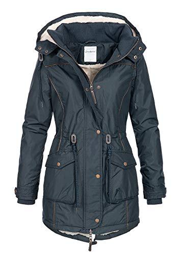 Seventyseven Lifestyle Damen Winter Jacke Kapuze Teddyfell Storm Cuffs aufgesetzte Taschen blau, Gr:M