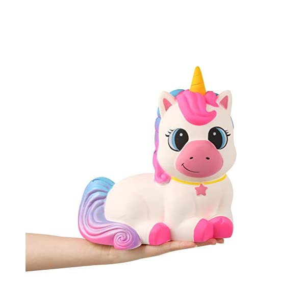 Anboor 9.1 Inches Squishies Giant Unicorn Horse Jumbo Kawaii Soft Slow Rising Scented Animal Squishies Stress Relief Kid… 5