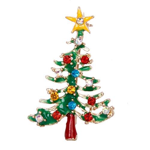 Générique Broche Pin Décor de Strass Multicolores Forme de Sapin de Noël Cadeau de Noël