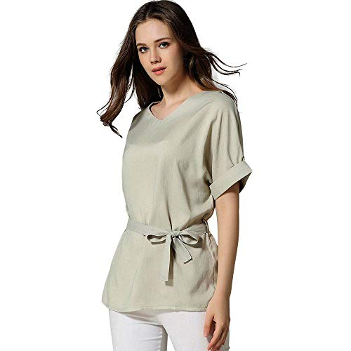 Dames V Neckline Self Tie Blouse - Dames Korte Mouw Effen Kleur Katoen Strik Riem Tops T-Shirt