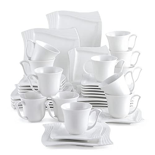 MALACASA, Serie Amparo, 36 TLG. Set Cremeweiß Porzellan Kaffeeservice Geschirrset Kuchenteller Kaffeetasse mit Untertasse für 12 Personen