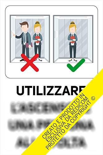 Generico Cartello Covid 19'Utilizzo Ascensore - 20x30 cm - 3 Pezzi - Adesivo per Interni - ETCOV04